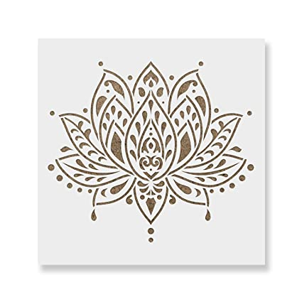 amazon com sacred lotus flower stencil template for walls and