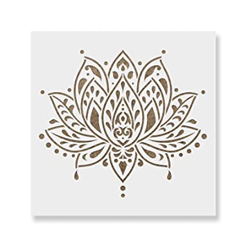 amazon 60cm x 60cm sacred lotus flower stencil template for