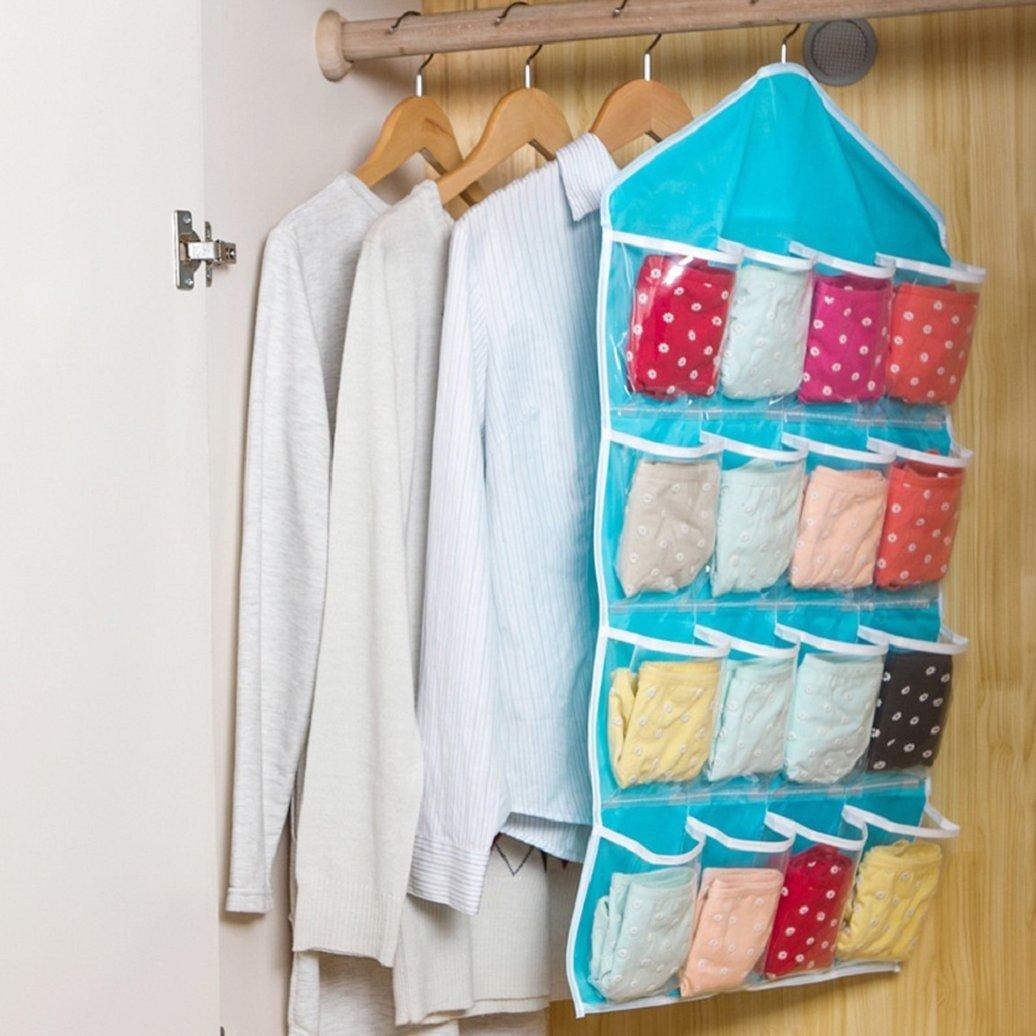 Yibenwanligod Schrank-Organizer 16 Taschen h/ängend Kleiderschrank Aufbewahrung BH Unterw/äsche Socken Krawatten Einheitsgr/ö/ße blau