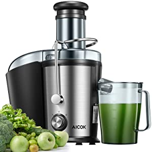 Juicer Machine, Aicok Easy Clean Juice Extractor, 800W Centrifugal Juicer with 3'' Wide Mouth, Dual Speed Stainless Steel Juicer with Anti-drip Mouth, Non-slip feet, BPA Free