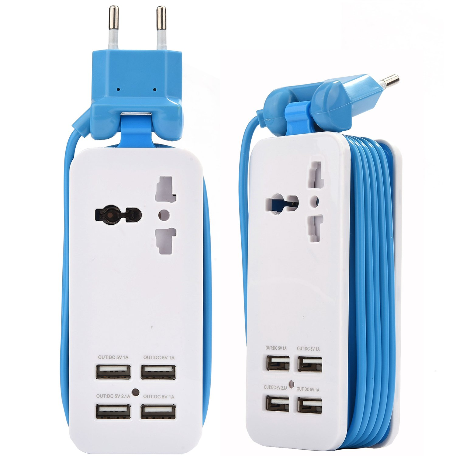 Europe USB Power Strip with 4 Ports USB Charging Station Outlets 5V 2.1A-1A 21W Universal Socket EU Plug 100V-240V Compact 5ft Extension Cord Portable Electric Power Strip for Traveling (Blue) by ETPocket
