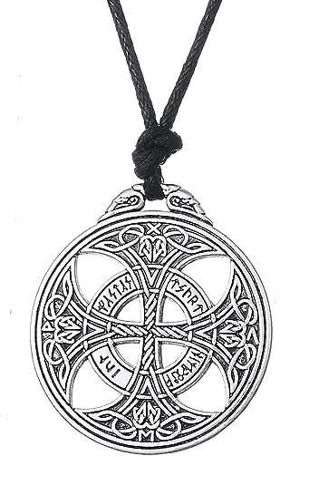 7544287a46c6f Dawapara Viking Irlandaise Croix Celtique Nœud Nordique Runes Pendentif  Collier Bijoux pour Unisexe