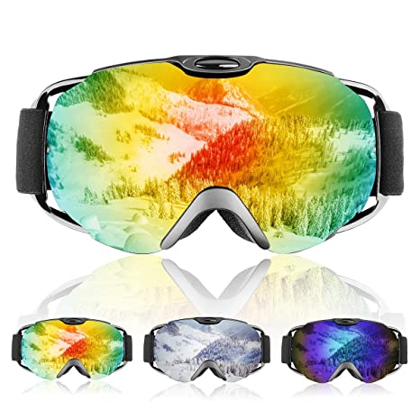 2ad9a9c35121 Ski Goggles- Double Lens OTG Skiing Goggles with Anti-fog and 100% UV  Protection Professional Ski Snowboard Goggles for Men Women Ladies  Teenager  ...