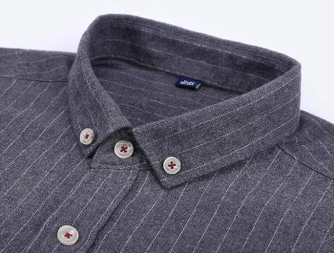 ARTFFEL Men Cotton Long Sleeve Stripe Business Slim Button Down Dress Shirt