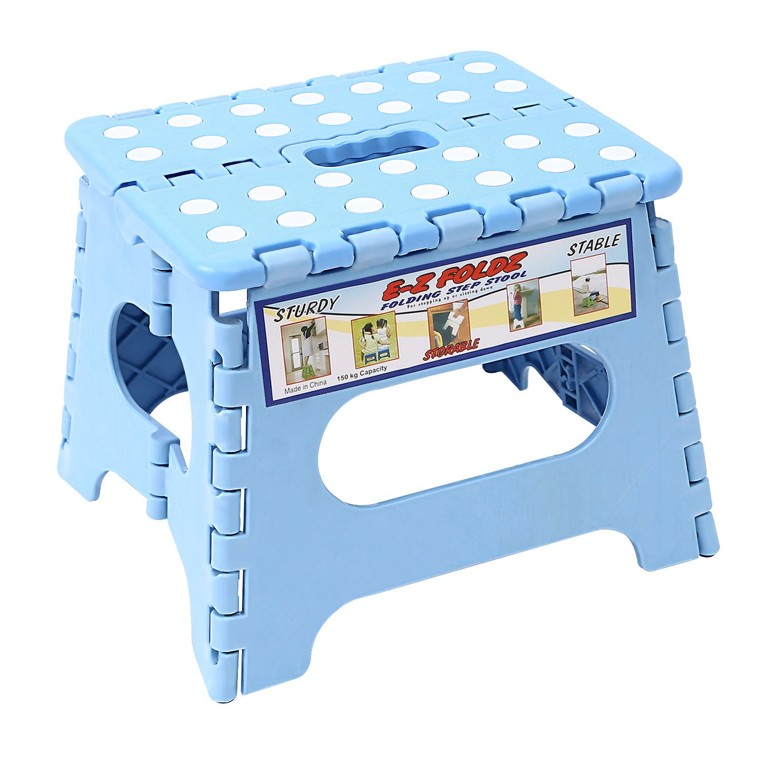 Maddott Folding Step Stool for Adults and Kids, 8x6x7.5inch, Holds up to 180 Lb, Blue