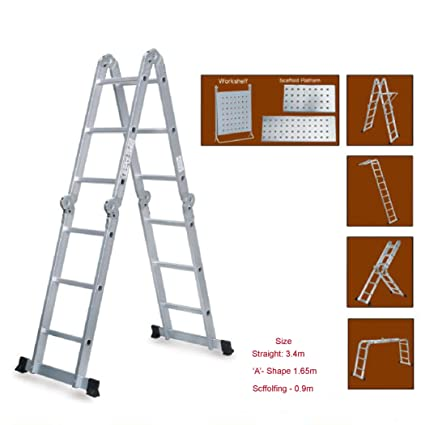 Super Ladder 3.4 Meters | Folding and Adjustable Multipurpose Aluminium for Painting Carpentry Repairs Electrical and Other uses