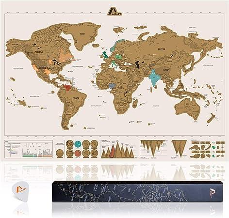 Amazy Mapamundi para rascar XXL (Blanco| 82 x 58 cm) – Mapa del mundo para rascar países y decorar paredes: Amazon.es: Hogar