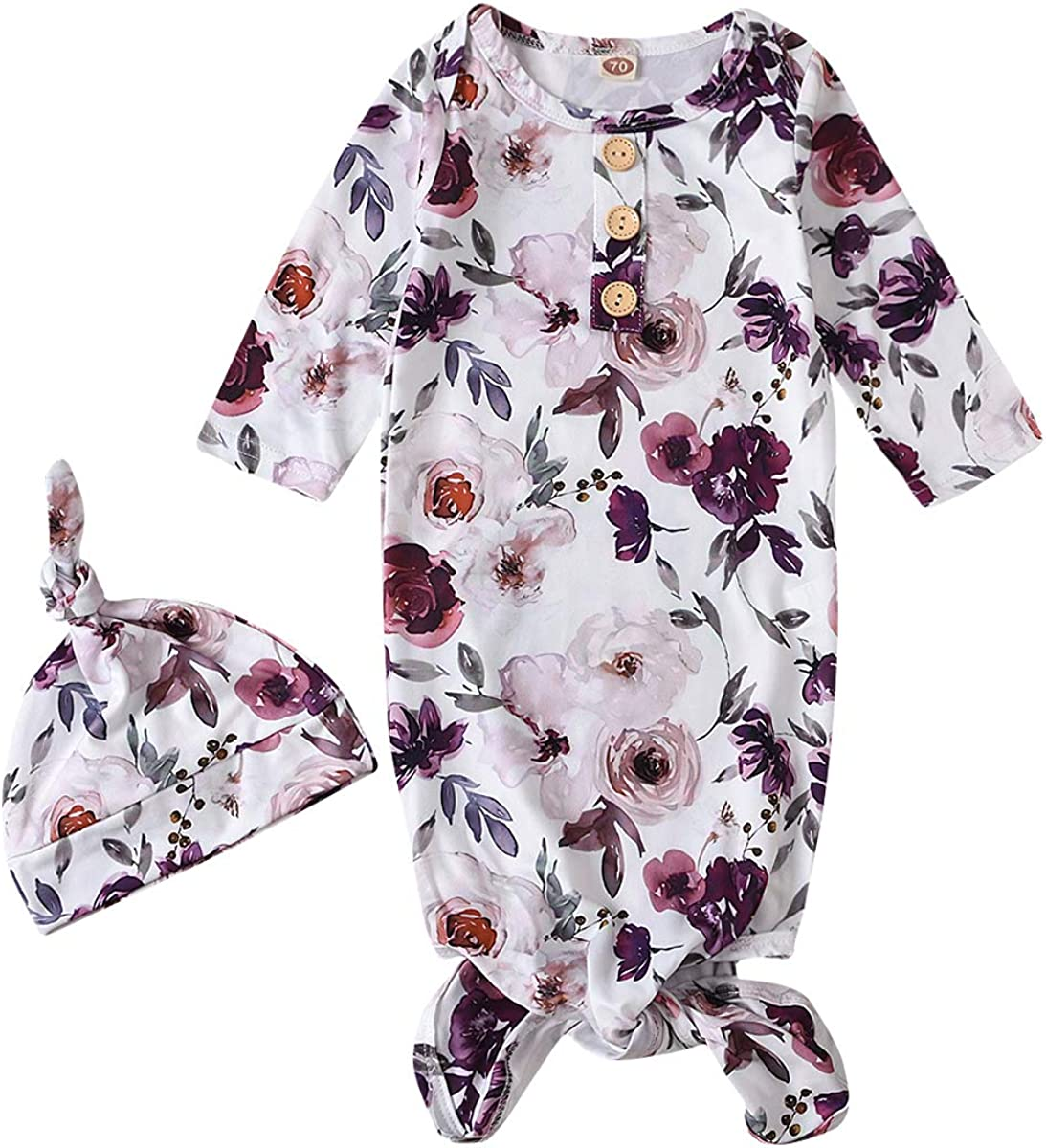 Newborn Baby Girls Floral Sleeper Gown Knotted Nightgown Hat Coming Home Outfits White
