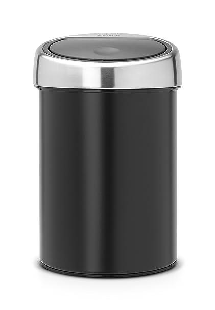 Brabantia Touch Bin 364440 - Cubo de Basura, 3 l, Cubo Interior de plástico extraíble, Color Negro Mate