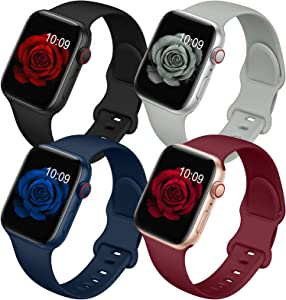 4 Pack Bands Compatible with Apple Watch Band 38mm 40mm 42mm 44mm for Women Men, Soft Silicone Sport Replacement Watch Strap for iwatch Series SE/ 6/5/4/3/2/1 Black/Gray/Dark Blue/Wine Red