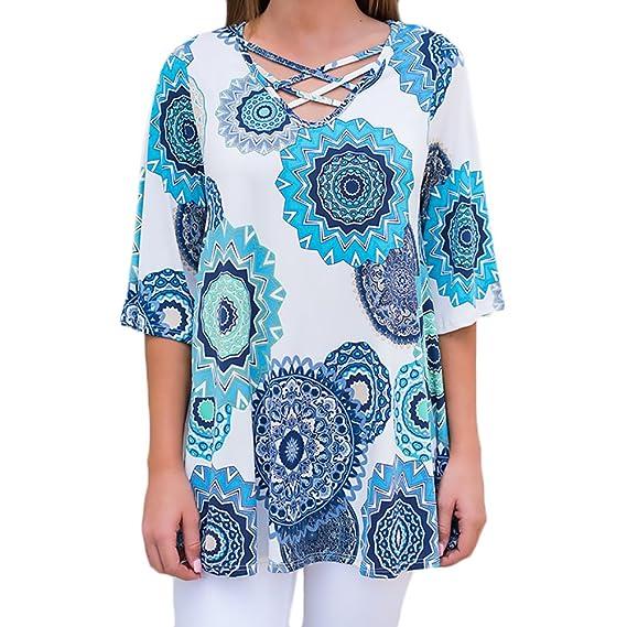 Camisetas Mujer Verano Elegante Retro Etnicas Estilo Blusas Loose Fashion Ropa Modernas Moda Fiesta Imprimir Flores