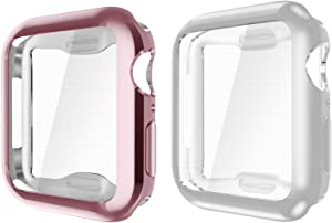 Fintie Compatible with Watch Series 4 Case 44mm, [Built-in Screen Protector] Soft TPU Overall Protective Case HD Clear Ultra-Thin Cover [2 Color Packs] - Rose Pink & Clear