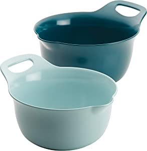 Rachael Ray Tools and Gadgets Nesting / Stackable Mixing Bowl Set with Pour Spouts and Handle - 2 and 3 Quarts, Light Blue and Teal