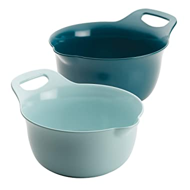 Rachael Ray Tools and Gadgets Nesting Mixing Bowl Set, 2-Piece, Light Blue and Teal