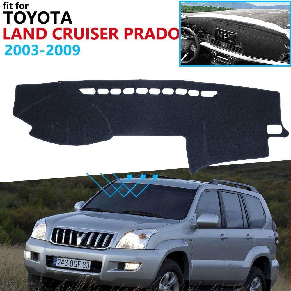 JJJJD Dashboard Cover Protective Pad For Toyota Land Cruiser Prado J120 120 2003~2009 Car Accessories Dash Board Sunshade Carpet 2008 Color : All Black, Size : Wheel on the left