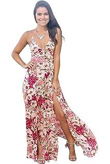 0676b89a74 Womens Plunge V Neck Spaghetti Strap Floral Print Long Maxi Dress High Split  Club Wear