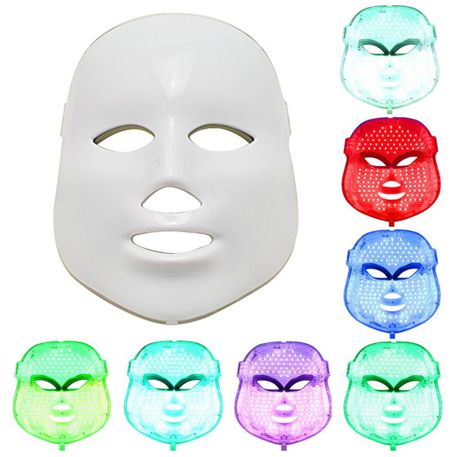 NEWEST LED Photon Therapy 7 Colors ( Red Blue Green )Light Treatment Facial Beauty Skin Care Rejuvenation Pototherapy Mask PDT Beauty Face Care for Home by Angel Kiss (Image #1)