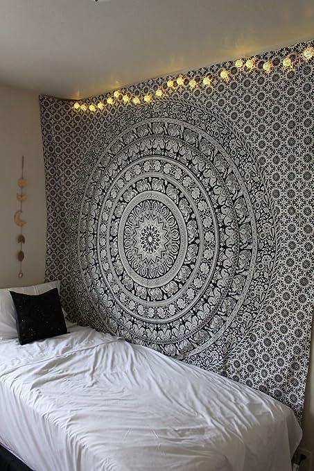 Amazoncom Elephant Tapestry Wall Hanging Black White Mandala