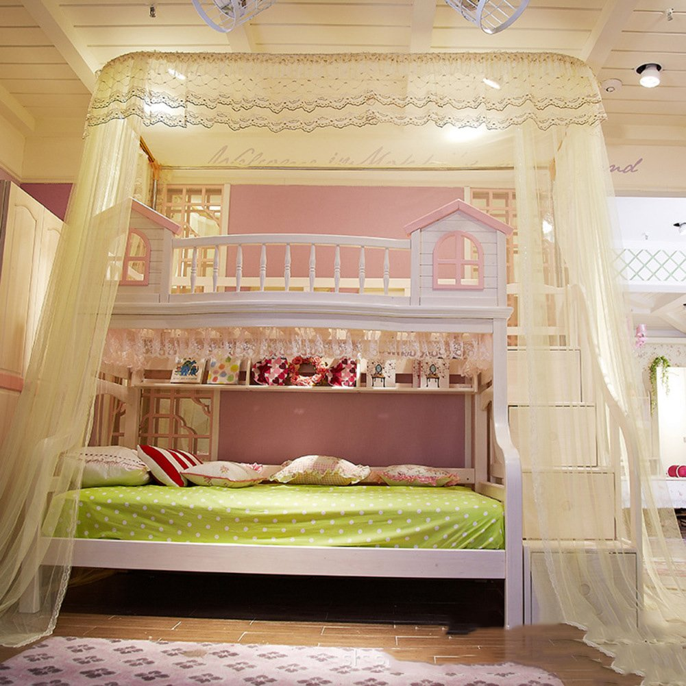 DE&QW U type court bunk bed mosquito net bed canopy, Rail type Children Bunk bed nets 50d encryption account yarn mosquito curtain-yellow Twin2