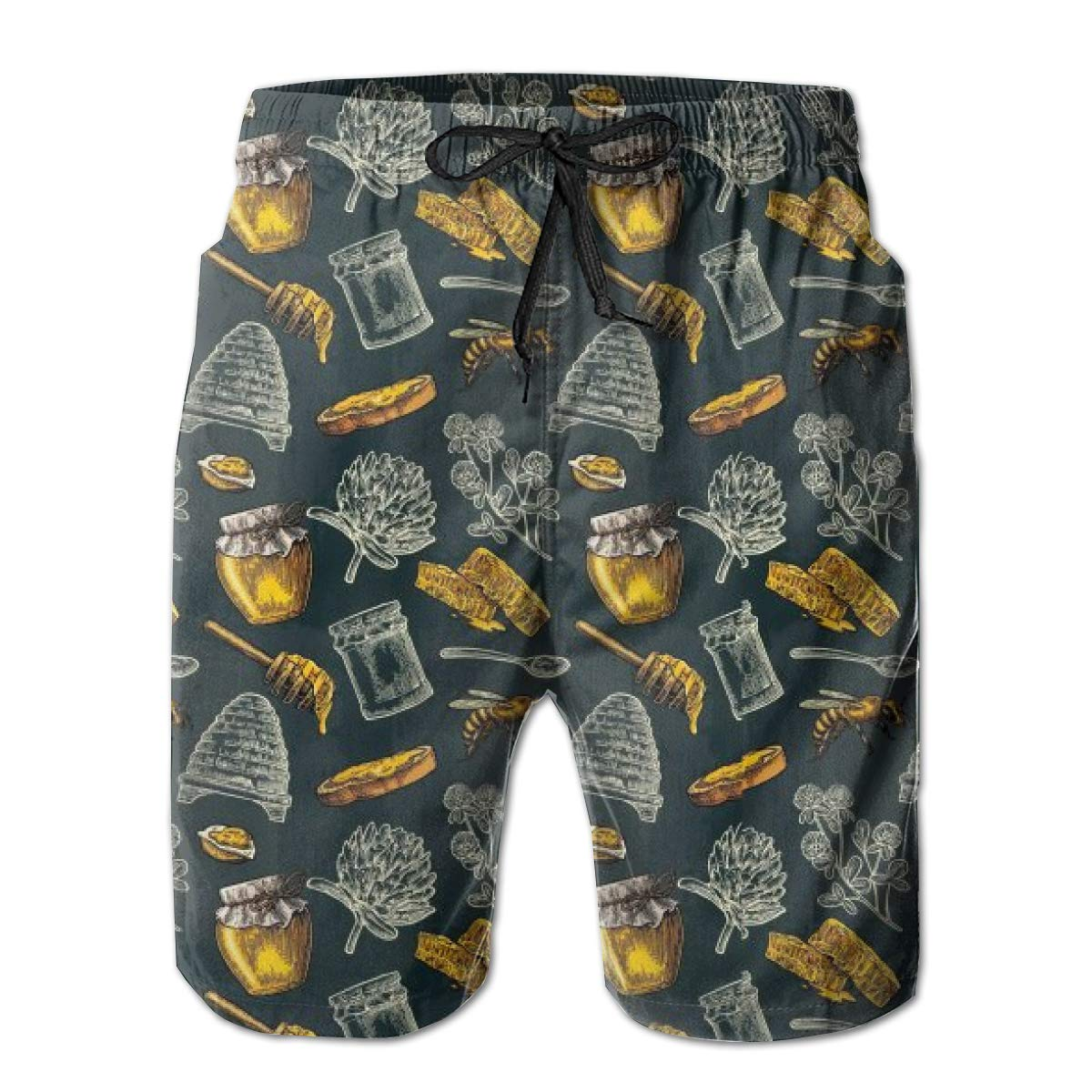 Honey Bee Hive Clover Spoon Mens Board Shorts Swim Mesh Lining and Side Pocket