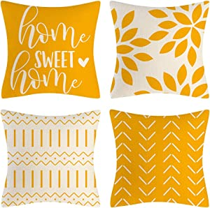 Eneston Yellow Pillow Covers 18x18 Set of 4 Home Decorative Throw Pillow Covers Outdoor Linen Couch Throw Pillow Case for Sofa Chair Bed Living Room Décor