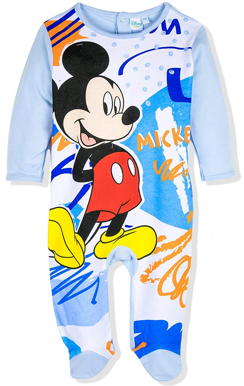 Disney Baby Babies Boy's Mickey Mouse Sleepsuit Pyjamas Onesie 100% Cotton 0-24 Months - New 2018/19