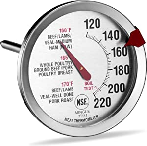 SINARDO Roasting Meat Thermometer T731, Oven Safe, Large 2.5-Inch Easy-Read Face, Stainless Steel Stem and Housing