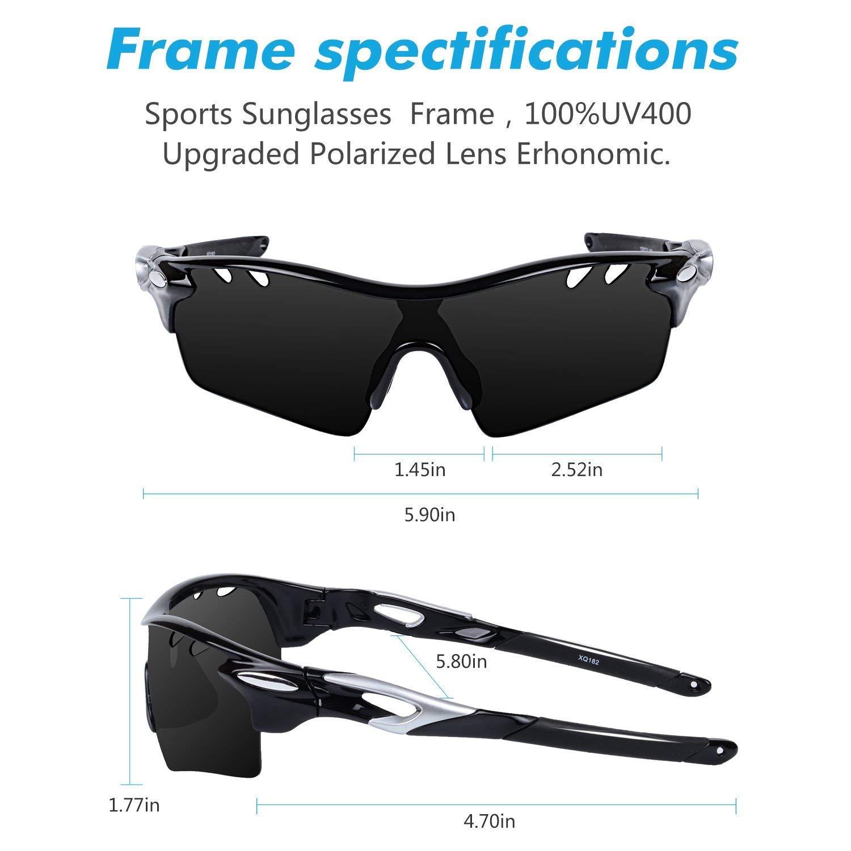 aacc9f8d64 Amazon.com  Ewin E01 Polarized Sports Sunglasses UV400 Protection for Men  Women(Black Black)  Clothing
