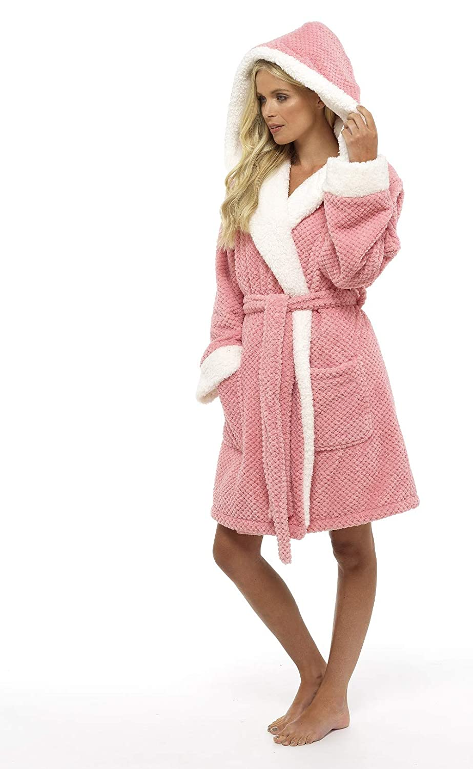 CityComfort® Luxury Dressing Gown Ladies Super Soft Robe With Fur Lined  Hood Plush Bathrobe For ... 4581a0d0b
