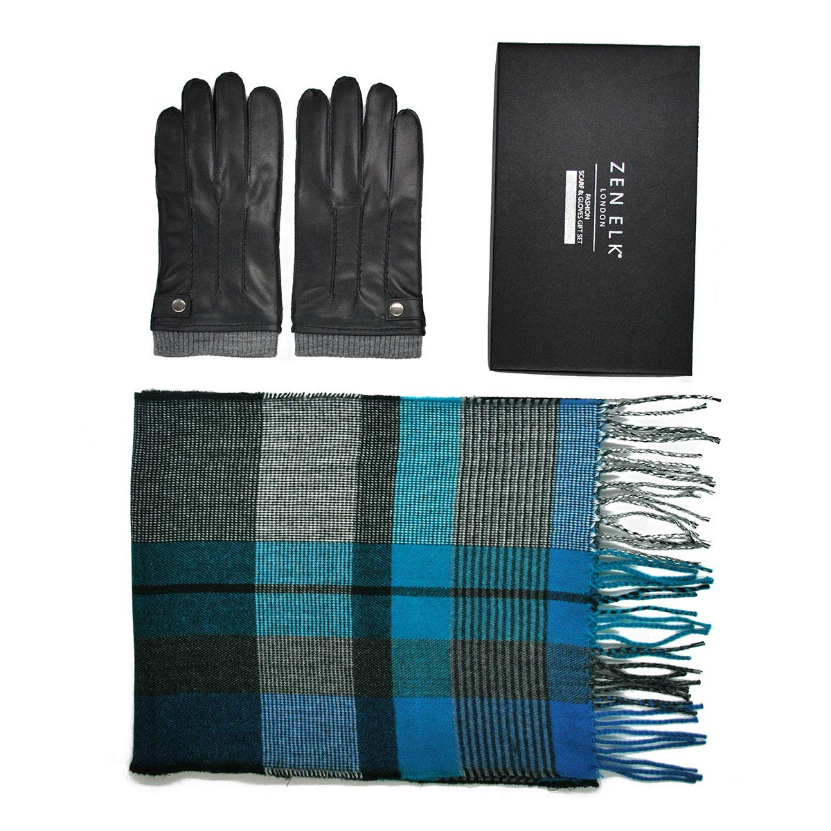 Men's Leather Gloves and Scarf Box Set #17 (M/L)