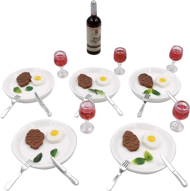 Tukeajuko Miniature Dollhouse Accessories Wine Steak Fork Knives Egg Doll House Mini Kitchen Kit Decor Furniture Set 1 12 Scale