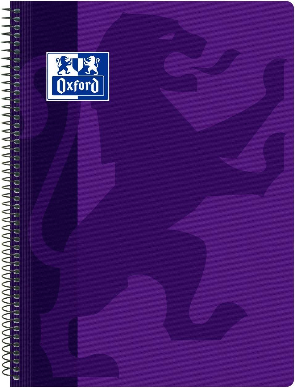 Oxford Classic - Cuaderno espiral, tapa plástico, cuadrícula 4x4, color violeta: Amazon.es: Oficina y papelería