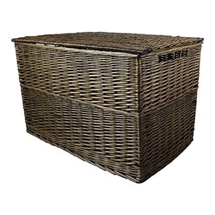 Caja metálica para galletas bronce mimbre cesta/Trunk/cesta/Caja para juguetes/
