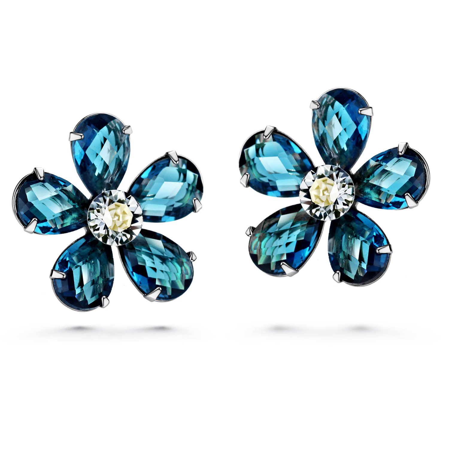 JOUDOO 16K Gold Flower Blue Crystal Platinum Earrings with Screw Back and Post Stud Earrings