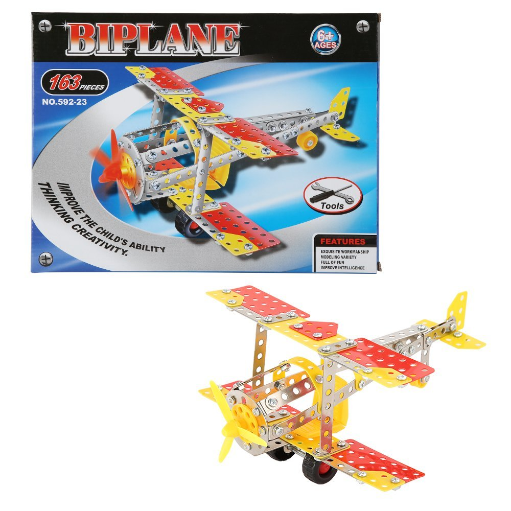 Talent Star Building Toys,DIY Building Block Toys Metal Assemble Biplane Model Children Kids Learning Intelligence Toy 163PCS