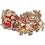 ufengke® Buon Natale Floccaggio Babbo Natale Carrozza Tre Cervi Piccolo AngeloAlbero di Natale 3D Adesivi Murali Adesivi Da Parete