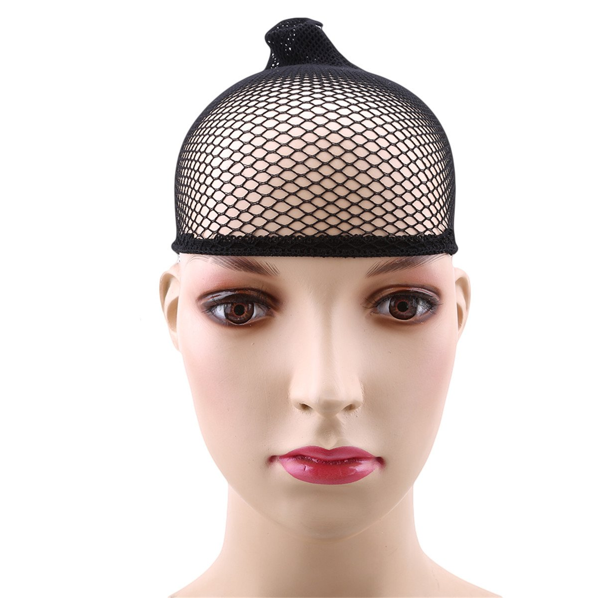 CH Hair Elastic Wig Cap Fishnet Liner Weaving Mesh Stocking Sleep Net Black Hat