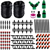 Hamkaw DIY Micro Irrigation Drip System 98.4ft 1/4inch Blank Distribution Tubing with Sprayers Mister Nozzle Automatic Watering Kit for Garden Greenhouse الفناء Flower Bed
