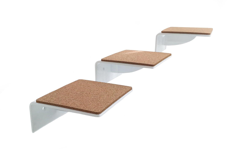 Lot de 3–Grand escalier Blanc, bords gelaserte, un must pour tous les chats Fan, niveau Taille: Chat 19x 20cm trelixx