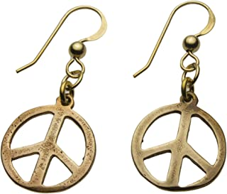 product image for Delicate Peace Symbol Peace Bronze Earrings on French Hooks