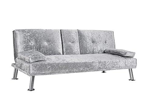 Sofá-cama de 3 plazas de terciopelo aplastado con soporte ...