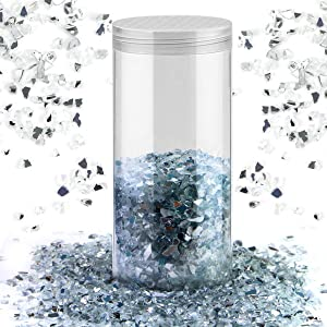 MotBach 290g Crushed Glass, 2mm-4mm White Reflective Tempered Crushed Glass Gravel, High Luster Crushed Gems, Crushed Glass Pebbles Stones for Home Decor, Fish Tank/Aquarium, Garden(Mirror)