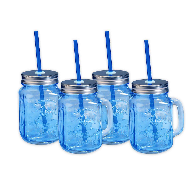Toland Home Garden Mason Jar 16 oz Mug (Set of 4), Blue, 1 pint