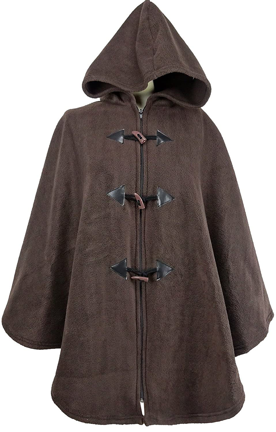 Kentex Online Ladies Womens Warm Fleecy Hooded Cape Ponchos One Size Plain Coloured 31 length to fit 14 to 32