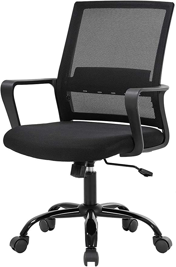 Amazon Com Home Ergonomic Desk Office Chair Simple Mesh Chair Lumbar Support Modern Executive Adjustable Stool Rolling Swivel Chair For Back Pain Best Chic Modern Home Computer Office Desk Chair Black Kitchen