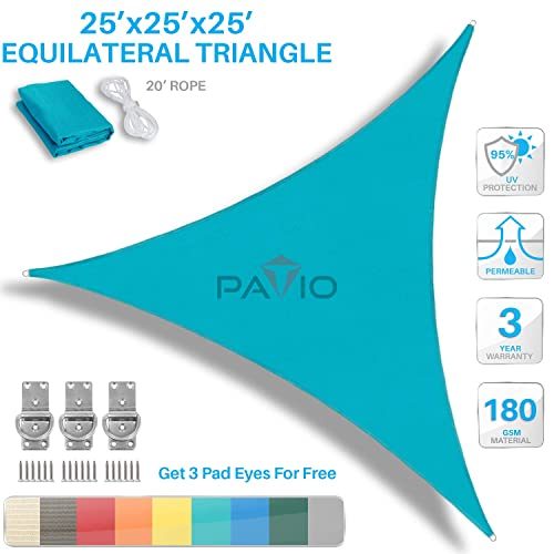 PATIO Paradise 25 x 25 x 25 Turquoise Green Sun Shade Sail Equilateral Triangle Canopy - Permeable UV Block Fabric Durable Outdoor - Customized Available