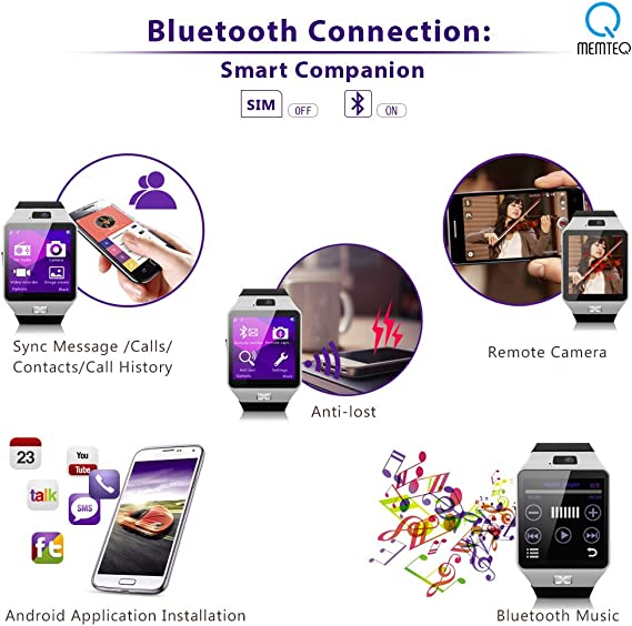 MEMTEQ® Reloj Inteligente por Bluetooth Smart Watch Pulsera ...
