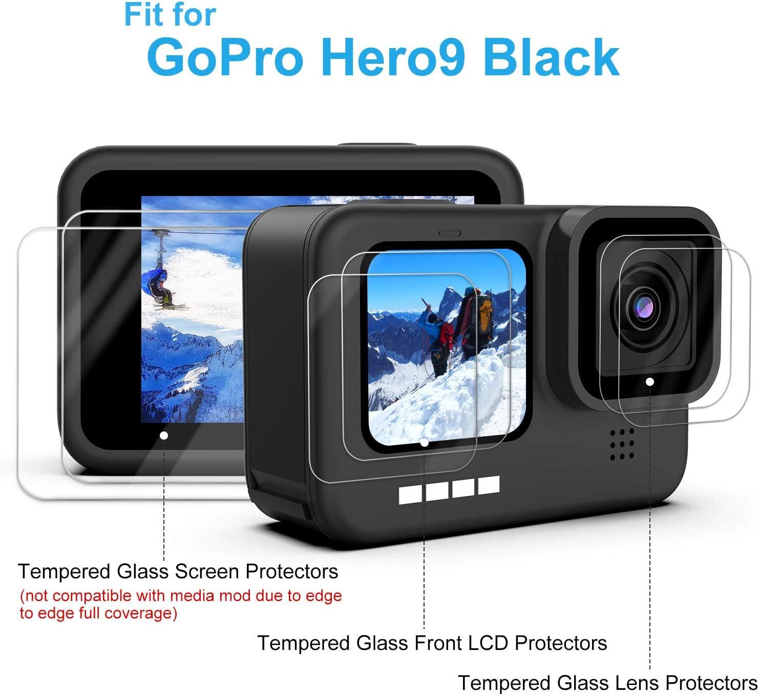 Maxku Lot de 6 Films de Protection D/écran en Verre Blind/é Pour GoPro Black 9 Noir 2 Films de Protection d/écran HD 2 Films de Protection d/écran en verre Tremp/é 2 films de Protection d/écran