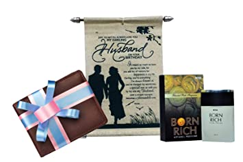 Gift For Husband Birthday Scroll Card With Wallet Perfume
