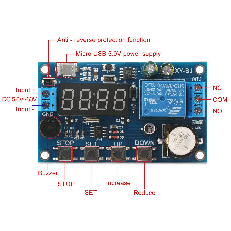 DROK Digital Programmable Time Clock Switch Timer Relay Board DC 5